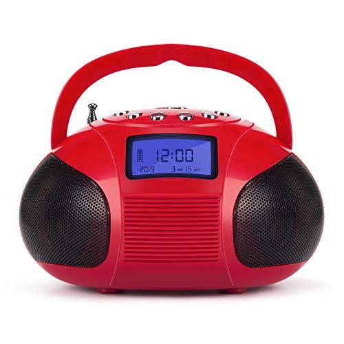 August SE20 - Mini Bluetooth Radio-Wecker (6W, Bluetooth, UKW, USB, SD, AUX Eingang, Akku) - rot 6w Ipod-docking