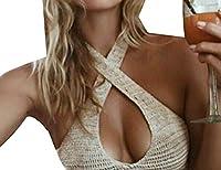 Lucky again-uk Women's Knit Bikini Bra Crochet Bikini Tops Vest Cami OS Khaki