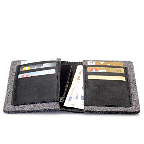 8 X 11 Camel (germanmade. g.5 Apple Hülle Wallet aus Leder für iPhone X, iPhone 8, iPhone 7, iPhone 6 in night schwarz)