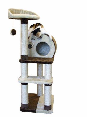 Preisvergleich Produktbild Kratzbaum 127 x 60 cm mit 6 Stämmen, 3 Mäuse, Ball und Liegefläche 127 x 60 cm Katzenbaum Designer Kratz-Baum für Katzen Katze Kletterbaum klettern spielen kuscheln waschbar pErziehung Spielzeug