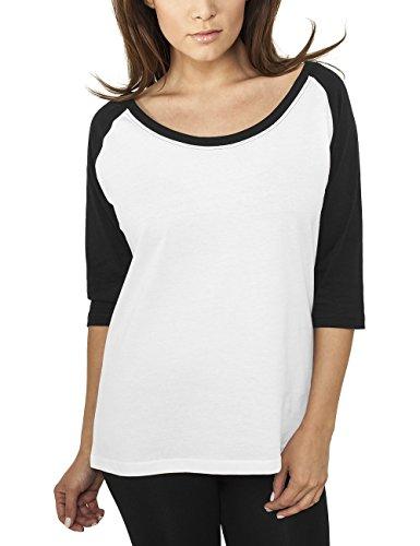 Urban Classics Ladies 3/4 Contrast Raglan Tee, T-Shirt Donna, Mehrfarbig (Wht/Blk 224), 46 (Taglia Produttore: L)