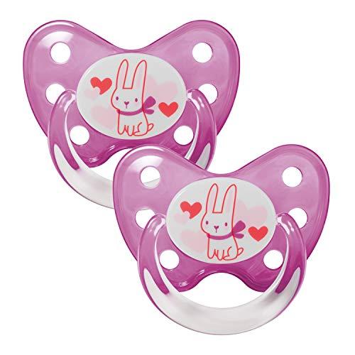 Dentistar® Latex Schnuller 2er Set inkl. 2 Schutzkappen - Nuckel Naturkautschuk Größe 3, ab 14 Monate - für Babys - Hase, pink