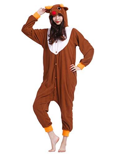 Jumpsuit Onesie Tier Karton Kigurumi Fasching Halloween Kostüm Lounge Sleepsuit Cosplay Overall Pyjama Schlafanzug Erwachsene Unisex Elch for Höhe 140-187CM