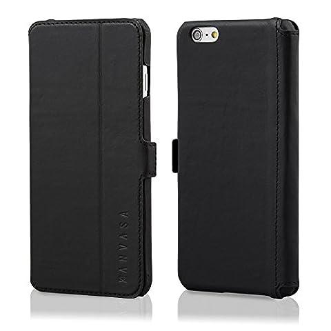iPhone 6/6s Plus Coque cuir à rabat noir - KANVASA