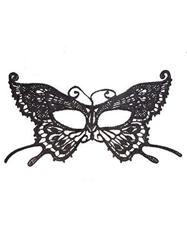 Halloween Maske Frauen Schwarze Spitze Maske Augenmaske Party Ball Maskerade Kostüm Maske (Farbe : SCHWARZ, größe : Butterfly)