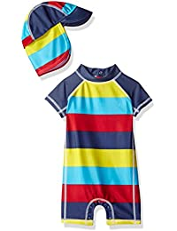 Nautica Boys' Short Sleeve Bodysuit with Hat