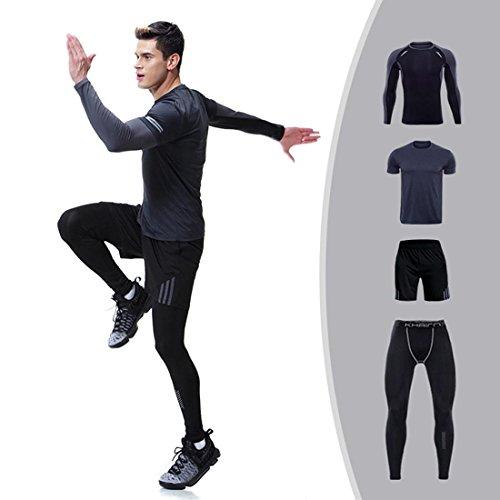 Set da 4 capi e pantaloni a maniche lunghe, completo di abbigliamento sportivo atletico da uomo, 4 pezzi, quick dry traspirante #3