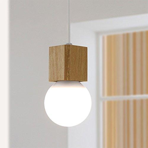 Retro Pendelleuchten Hängelampe Vintage Kronleuchter Holz mit E27 Sockel 220V Höhenverstellbar Dekorative Beleuchtung für Café Küche Bar Esssaal(ohne Birne)