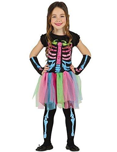 Skelett Kleid mit Tütü für Mädchen Halloween Kostüm für Kinder Rock bunt Gr. 98-146, - Tutus Halloween-kostüme