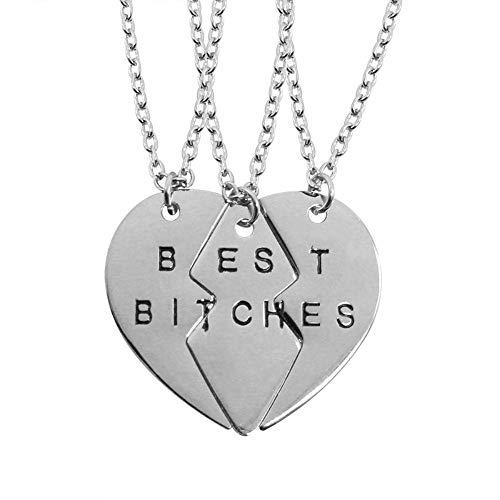 ZUXIANWANG Damen Halskette,3P Am Besten Hündinnen Silber Bester Freund Halskette Frauen Beste Freunde Für Immer Schlüssel Tier Herzen Halsketten Anhänger Femme -