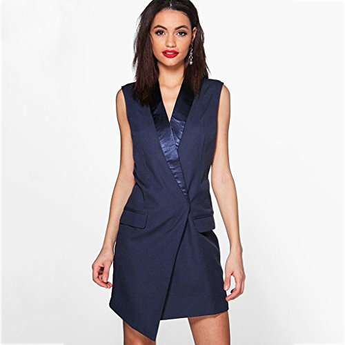 Il modo commuta asimmetrico blu scuro vestito sleeveless femmina ( Colore : Il blu scuro. , dimensioni : S. ) Il blu scuro.