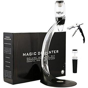 Wine Aerator Set Pourer Wine Breather Decanter Aerator Wine Decanter Wine Decanting Jug with stand, Filter Black