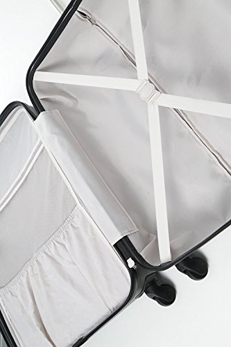 Aerolite Leichtgewicht ABS Hartschale 4 Rollen Trolley Koffer Reisekoffer Hartschalenkoffer Rollkoffer Gepäck, 69cm, Kohlegrau/Gold - 3