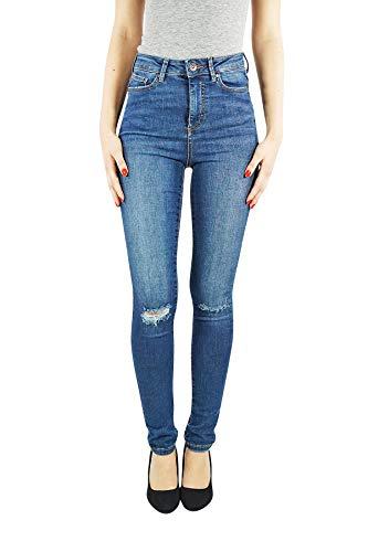 VERO MODA vmsophia Damen Jeans Skinny | Jeanshose Slim fit high-Waist | Frauen Hose Röhre im Used Look | Stretch, Farbe:Blau, Schrittlänge:L32, Hosengröße:S