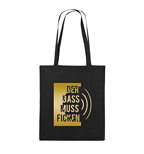 Comedy Bags - DER BASS MUSS FICKEN - Jutebeutel - lange Henkel - 38x42cm - Farbe: Schwarz / Pink Schwarz / Gold