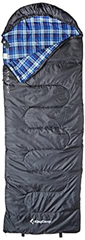 KingCamp Oasis 250+ 3 Season Lightweight Durable Comfortable Envelop with Hood Single Layer Sleeping Bag For Camping Hiking Outdoor (Grey