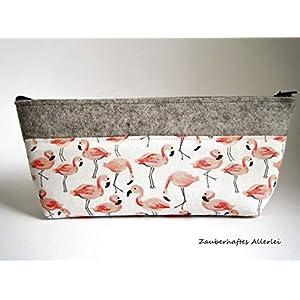 Federmäppchen/Schlampermäppchen aus Wollfilz, ungefüttert, schmutz- und wasserabweisend, hellgrau, Motiv Flamingos