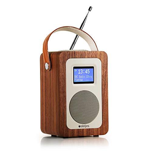 Steljes Radio Digital DAB DAB+ FM UKW, Küchenradio Retro Design, Tragbar mit Bluetooth Lautsprecher HiFi-Audio, Portable Wecker/Uhr/Schlummer, Aux-in, 10 Stunden Akkulaufzeit SA20 Braun