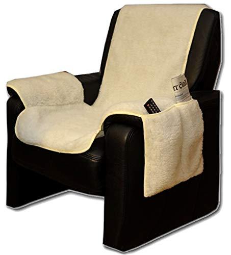 Brandsseller Sesselschoner Sesselüberwurf Sesselauflage Sesselbezug Polster kuschelweich in Lammflor-Optik - mit seitlichen Taschen - Natur