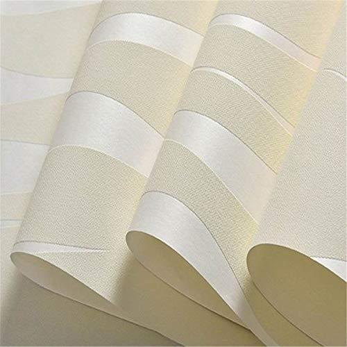 YYZC Moderne Streifen geometrische 3D tapetenbahn für Schlafzimmer Wohnzimmer wohnkultur Relief grau Streifen tapete tv Sofa Hintergrund (Color : Creamy-White, Dimensions : 10m×53cm)