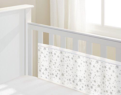Luftdurchlässiges Babynest, Kopf/Fussteil massiv, Sterne Grau (Bett-köpfe)