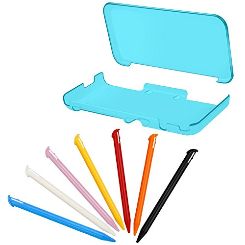 Schutzhülle und Stylus für NEU Nintendo 2DS XL LL, AFUNTA Anti-Scratch Crystal Clear Abdeckung, mit 7pcs bunten Kunststoff Touch Pen - Blau Neu Stylus Touch Pen