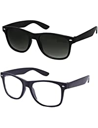 Sunglasses for Mens/Womens/Boys/Girls (Simple-Black-Wayfarer+Simple-Clear-Wayf)