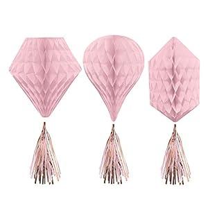 Amscan International Amscan 290110 - Juego de 3 adornos con borlas, diseño de panal, color oro rosa