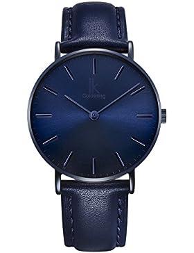 Alienwork Navy Blue Quarz Armbanduhr Ultra-flach Uhr Damen Uhren Herren Zeitloses Design Leder blau 98469NBL-03