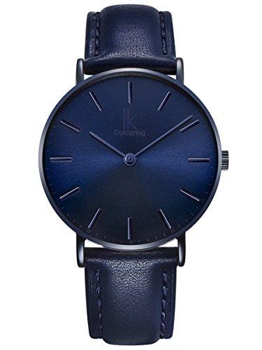 Alienwork Navy Blue Montre Femme Homme Mixte Bracelet Cuir Bleu Analogique Quartz Unisex Imperméable Ultra-Mince Classique