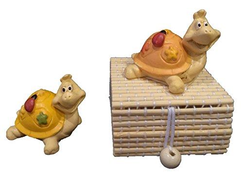 Langolo bomboniere nascita battesimo scatola bambu' applicazione tartaruga coccinella
