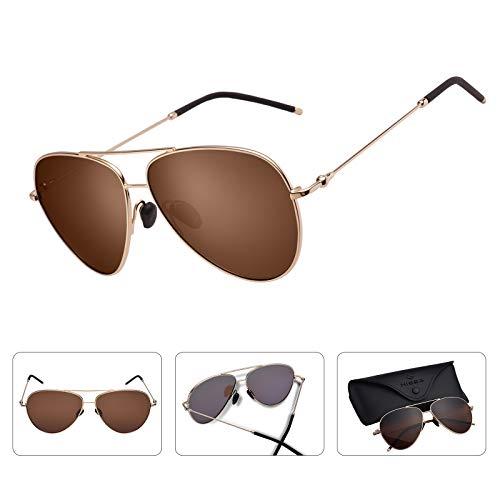 Hisea aviator occhiali da sole per uomo e donna, sportivi, polarizzati, 100% protezione uv per gli occhi all'aperto, donna uomo, gold frame/brown lens, 60mm