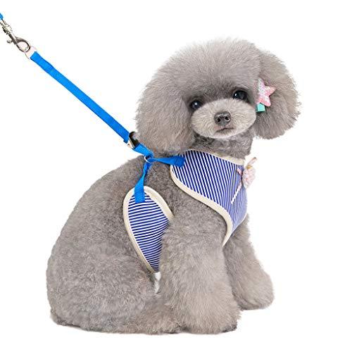 JKRTR Haustierkleidung 2019,Neuer Verstellbarer Haustier-Mode-Zugstreifen-Streifen Brustgurt für Katzen-Hunde(Blau,L)