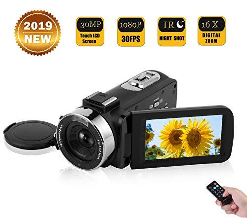 Videocámara Cámara de vídeo Vlogging Full HD 1080P 30FPS 30.0MP para Youtube Videocámara con IR Visión Nocturna Cámara Digital con Control Remoto y Pantalla táctil de 3.0 Pulgadas LCD