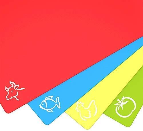 CK-Shop Flexibles Kunststoff Schneidebrett Küchen Schneidebretter (4er Pack) Cutting Board - Rutschfest & BIEGSAM & SPÜLMASCHINENFEST & BPA FREI & ANTIBAKTERIELL in verschiedenen Farben