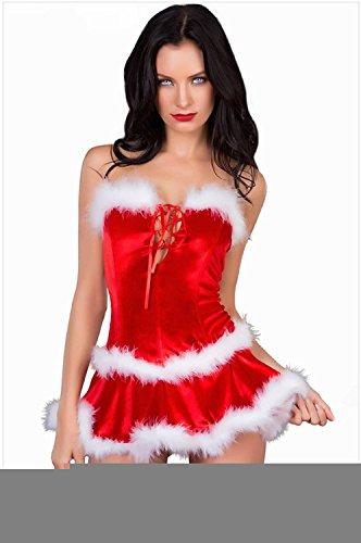 PIO Frauen Santa Kostüme trägerlosen ärmellosen Show schlank Weihnachten Weihnachten Kostüm Rote Samt Kleid Bühne Performance (Samt Kostüme Erwachsene Santa Miss Für)