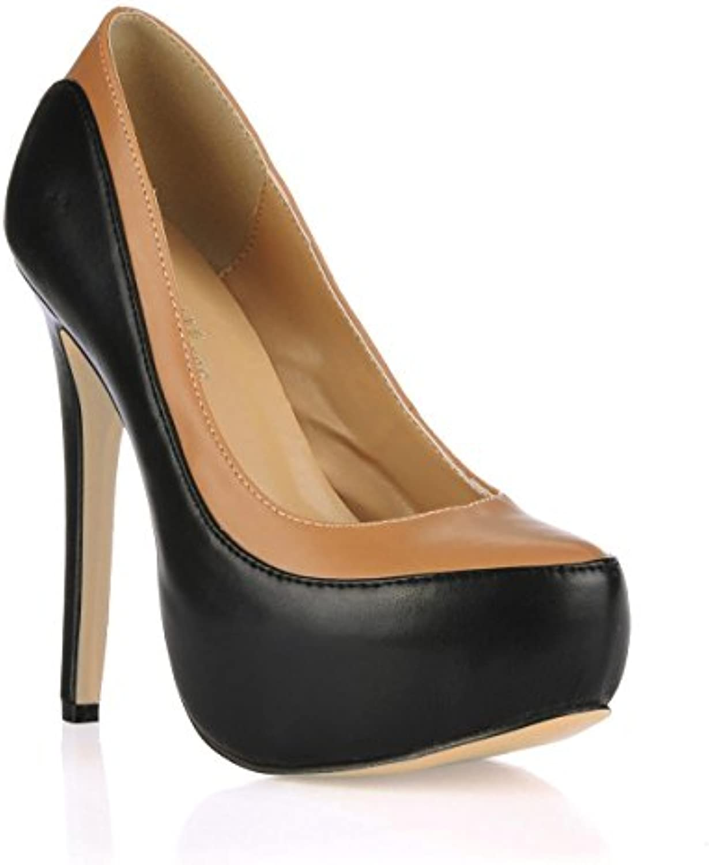 Best 4U® Frauen High Heels Schuhe Stiletto Premium PU Gummisohle Runde Kappe 14CM Fersen Frühling Herbst Schuheö