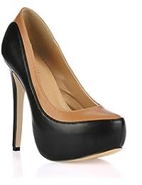 Best 4U® Zapatos de tacón alto para mujer Stiletto Premium PU goma suela punta redonda 14 CM talón primavera otoño...