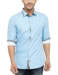 SHOWOFF Men's Cotton Full Sleeve Slim Fit Solid Casual Shirt (SatinDemo_Blue)