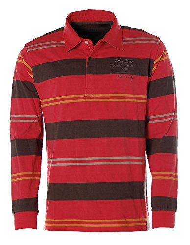 Kitaro Herren Langarm Shirt Poloshirt Streifen -Montana Great Spirit- Barn Red/Raven