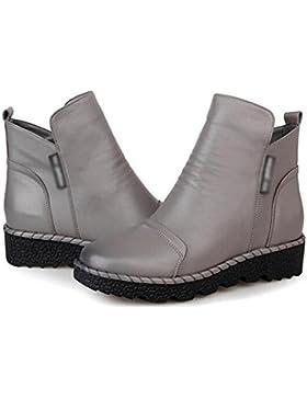 MEILI-Dongkuan pelle scarpe stivali piatti stivali Martin e stivali nudo crosta spessa , 37 , gray