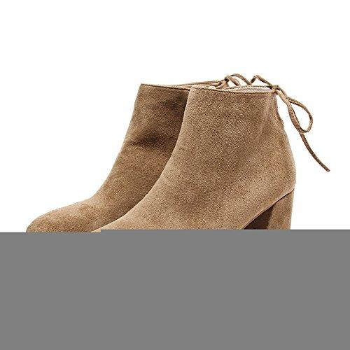 VogueZone009 Damen Spitz Zehe Knöchel Hohe Mittler Absatz Rein Mattglasbirne Stiefel Aprikosen Farbe