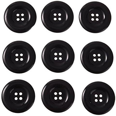 Liebe Engel 20pcs Cuatro Agujeros 38mm Resina Botones Negro