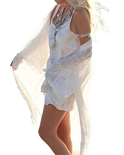 Urlaub Strickjacke (ERGEOB Damen Spitze Lange Strickjacke Sonneschutzkleidung Strand Bikini Urlaub Hängerkleid weiß)