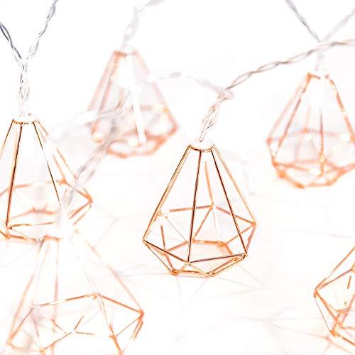 Stringa di luce led, calda bianca catene luminose 1.5m 10 lampada a forma di diamante led luci con batteria della stringa per festa, giardino, natale, halloween, matrimonio