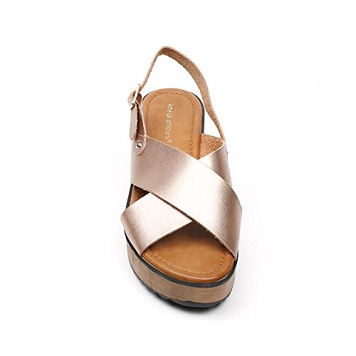 Ideal Shoes, Damen Sandalen Champagne