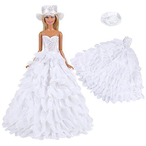 VILLAVIVI Abendkleid Kleidung Kleider Hochzeitskleid Weiß mit Hut für Barbie Puppen Doll