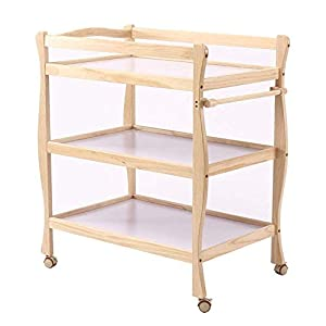 Children Changing Table with Casters Wooden, Diaper Storage Nursery Station with Pad for Newborn/Infant   14