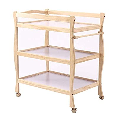 LNDDP Children Changing Table with Casters Wooden, Diaper Storage Nursery Station with Pad for Newborn/Infant