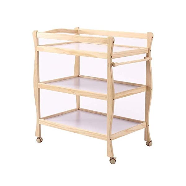 Children Changing Table with Casters Wooden, Diaper Storage Nursery Station with Pad for Newborn/Infant GUYUE Silent caster with brake. Safety rails enclose all four sides of the changing area Strong and sturdy wood construction: Pine + solid wood paint free board. 1